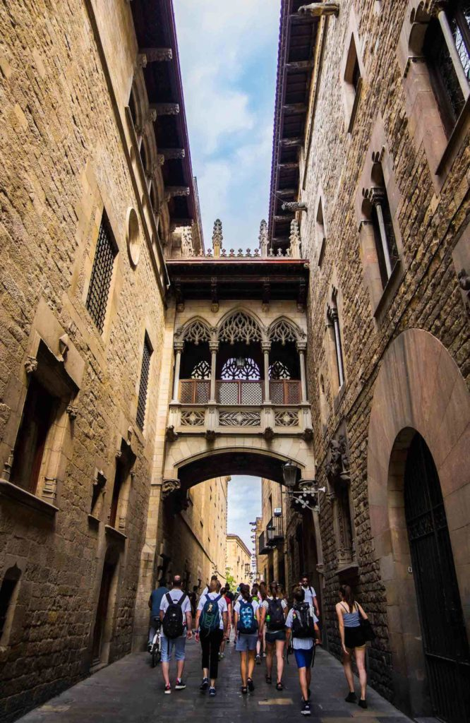 Alleyway in the Gothic Quarter of Barcelona