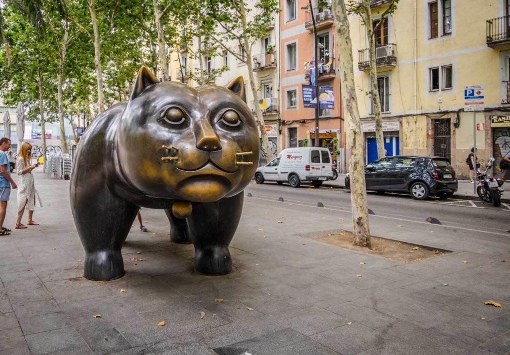 Fat cat sculpture on Rambla de Raval Barcelona
