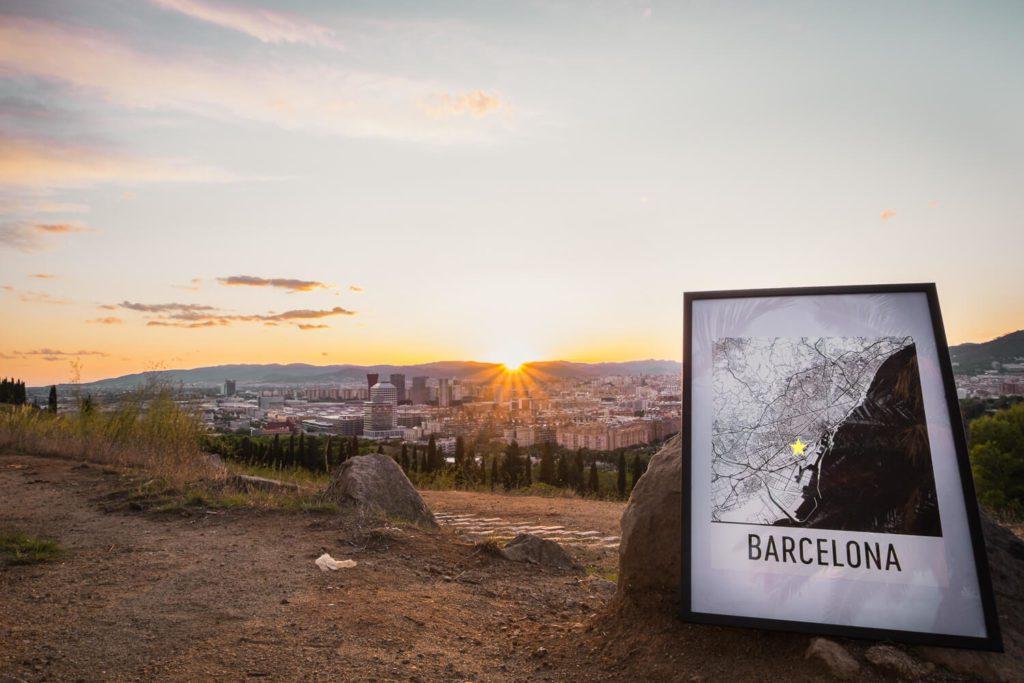 Modern Map Art Overlooking Barcelona at Sunset