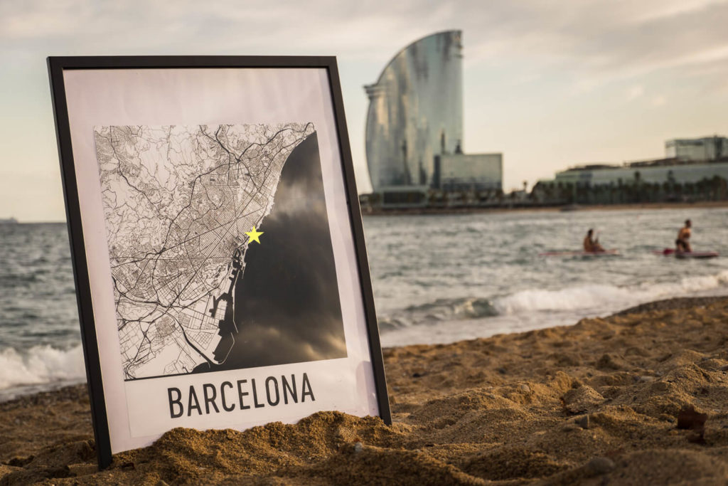 Modern Map Art on the beach in Barcelona