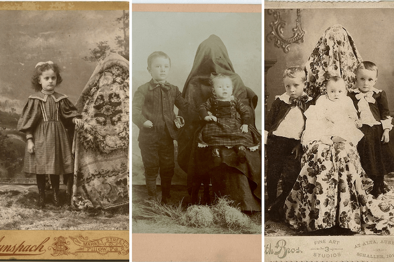Victorian mothers with blankets over their head