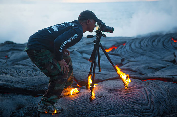 Crazy Photographer on Fire