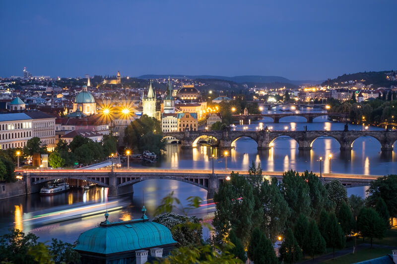 View over the city street photography in Prague