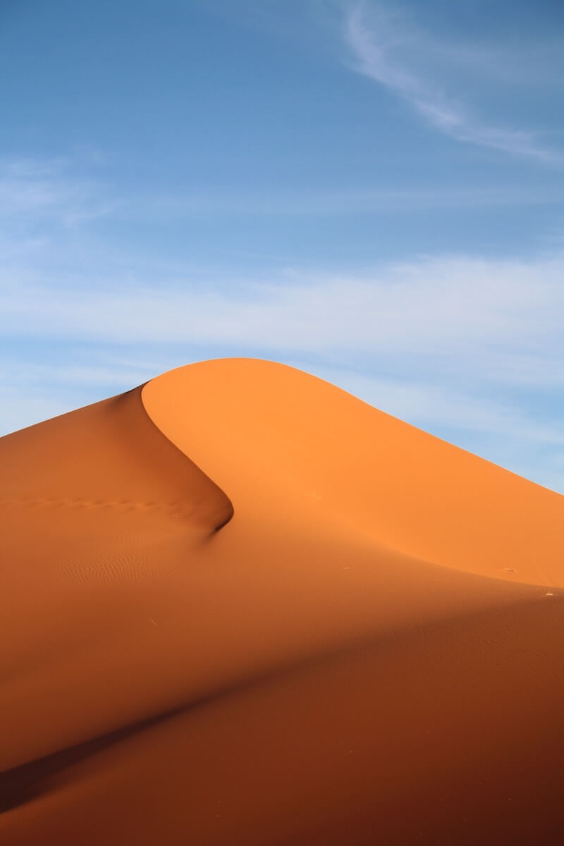 A sand dune in the Merzouga Desert