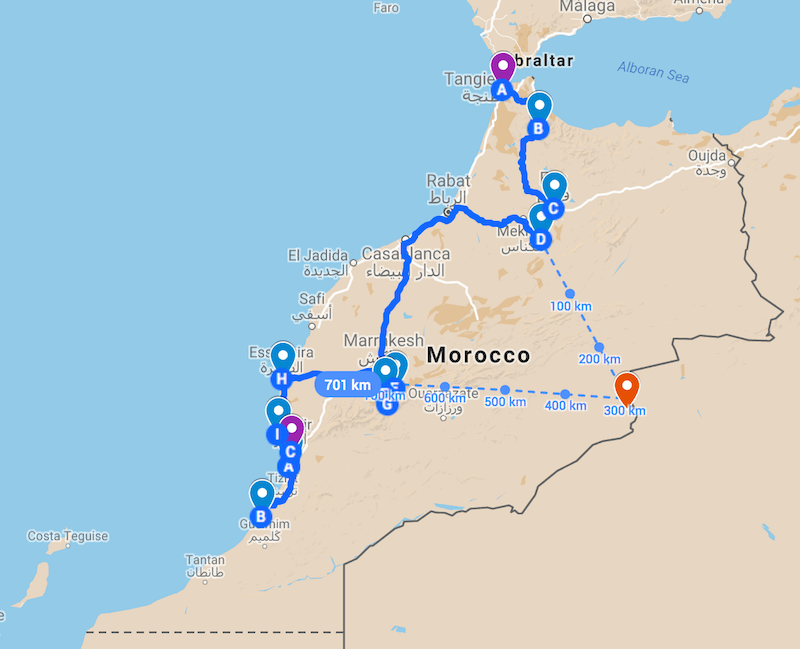 The planned road trip in Morocco itinerary on a map