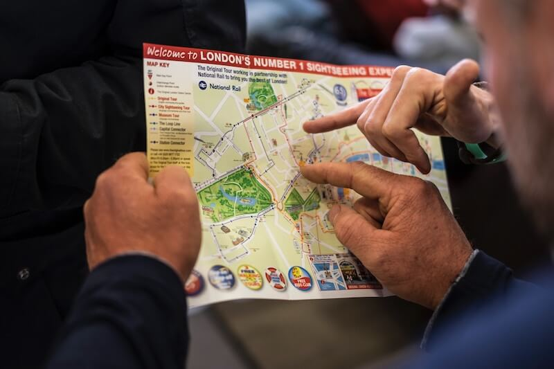 A person holding a map of London