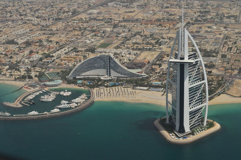 The Dubai skyline from a drone