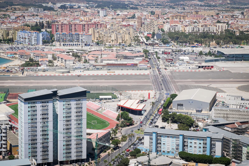 The airport runway cutting across the main road in Gibraltar