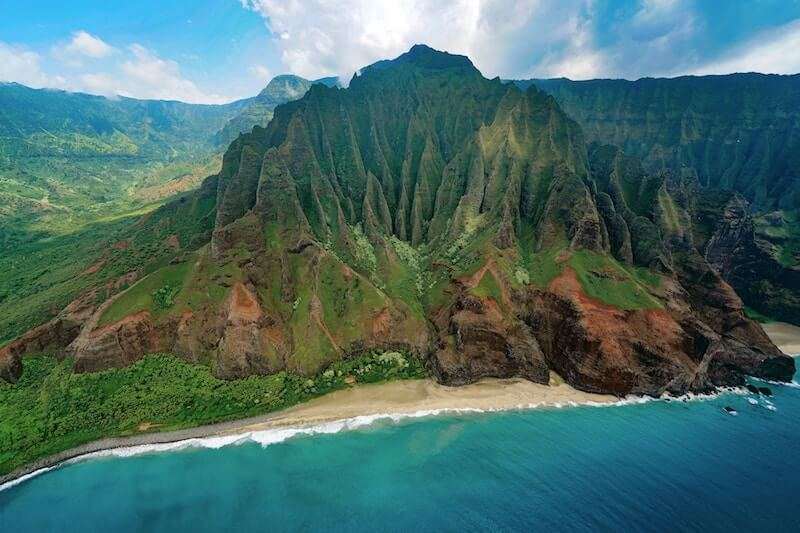 Drone view of one of the most amazing landscapes of the planet. The Nā Pali coast on the island of Kauai, Hawaii.