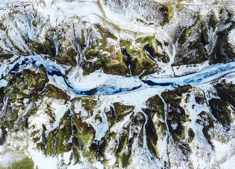 A frozen river in Iceland