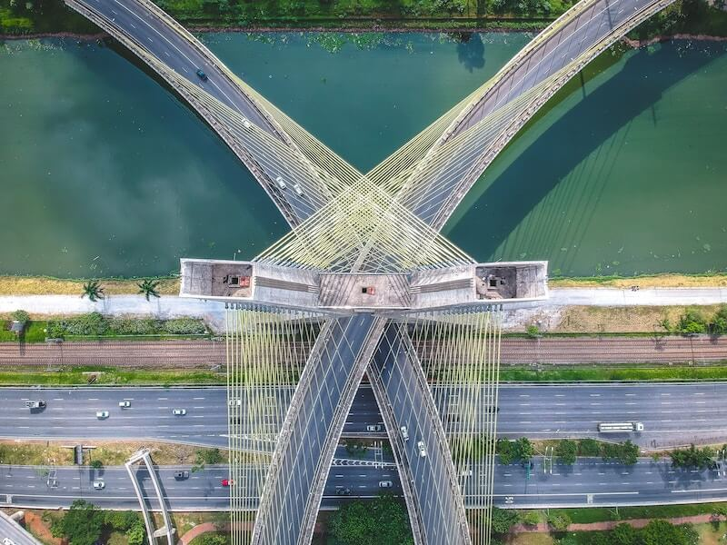 A symmetrical aerial view over a bridge from a drone