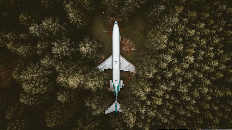 View of an old abandoned aircraft from above