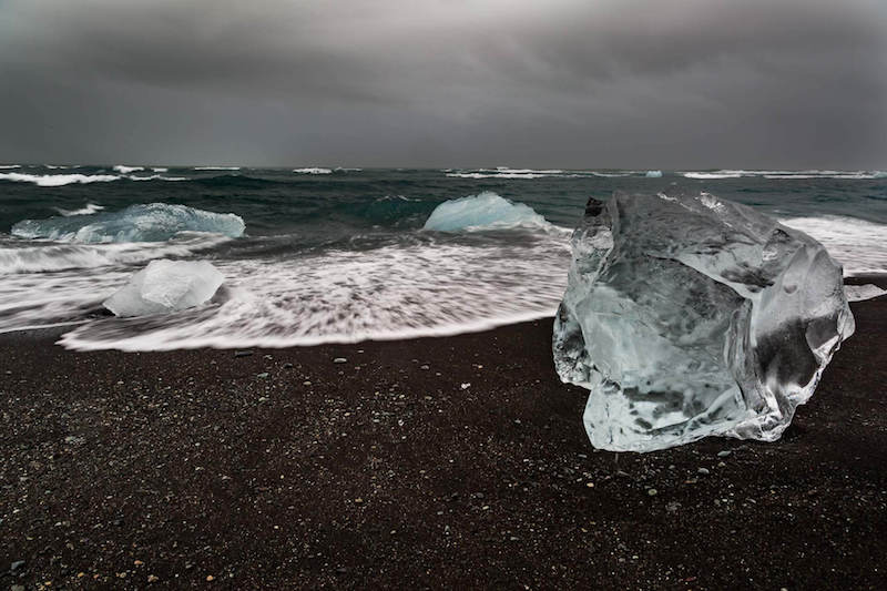 Blocks of ice on the beach in Iceland