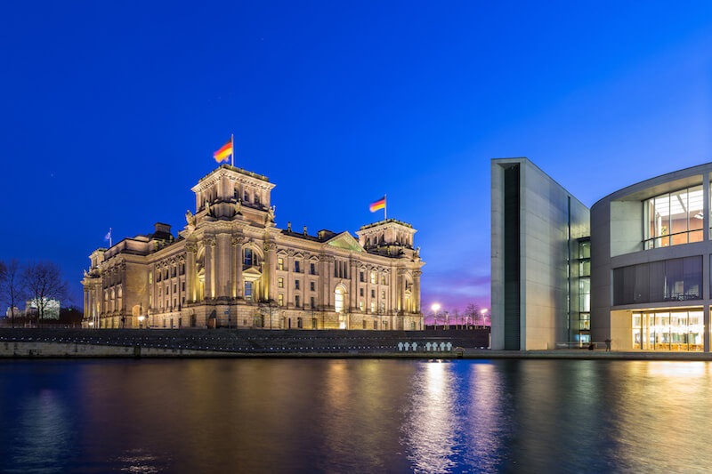 The Reichstag building in Berlin at night