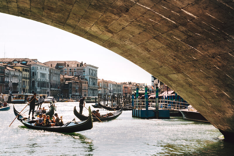 Shot form under Rialto Bridge